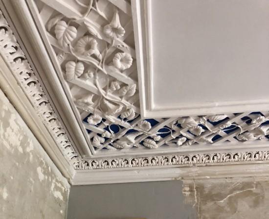 morning glory, border, trellis, plaster ornament, architectural ornament,